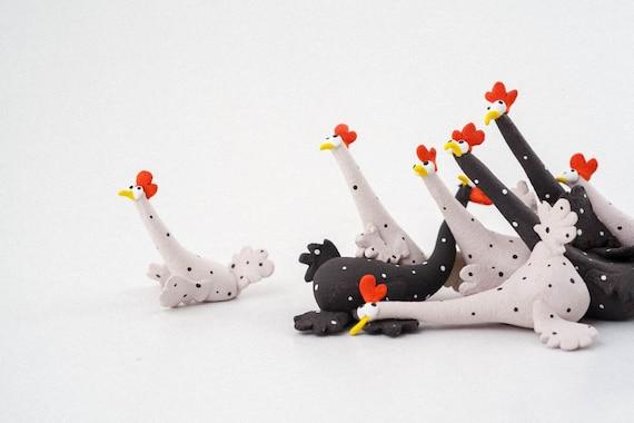 """Stoneware Sculpture """" Chickens Panic Attack """", Handmade Ceramic Animal Figure by MURTIGA"""