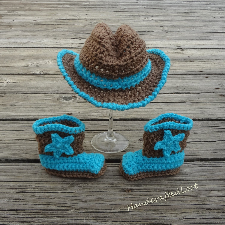 Newborn Baby Cowboy Hat Boot Set Crochet Handmade Photo Prop