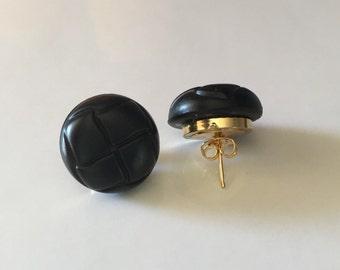 Black patteren Button Studs