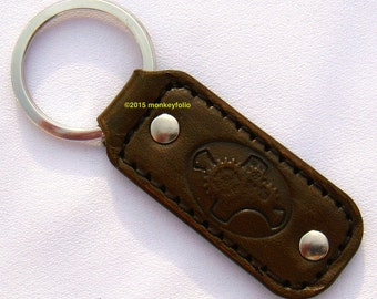 Leather Key Ring / Key Fob - Steampunk - Antique Medium Brown