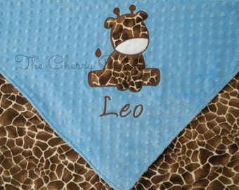 Personalized Baby Blanket, Blue Giraffe Baby Blanket, Crib Blanket, Stroller Blanket, Custom Blanket, Minky Baby Blanket, Made to Order
