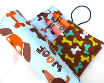 Brown Dogs Crayon Roll - Blue Puppies Crayon Roll, 8 Crayons
