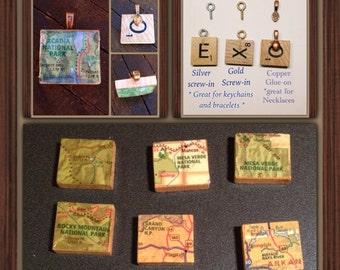 National Park maps, Map Pendant,Charm, Upcycled, Souvenir, Traveler Gift, Acadia, Yellowstone, Grand Canyon,