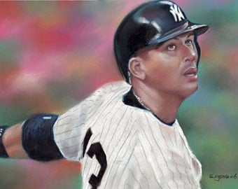 "Alex Rodriguez, painting, poster, print, reproduction, artwork, drawing, 16""x20"",22.4""x28"""
