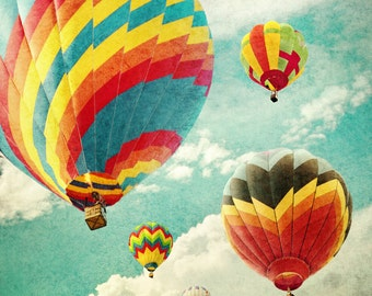 Hot Air Balloons 4 - blue green - green - red - blue - wall art