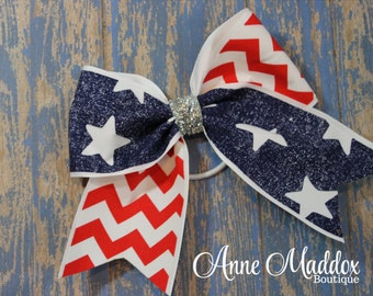 Stars and Chevron 4th of July Bow, 4th of July Bow, Girls Bows, 4th of July