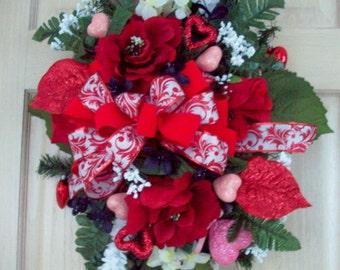 Valentine Swag, Rose Swag, Red Floral Swag, Hearts, Door Decor, Wall Decor