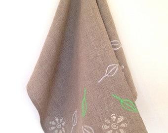 Pure linen tea towel - block printed w leaf design in cream, white, neon green - 45 cm x 65 cm