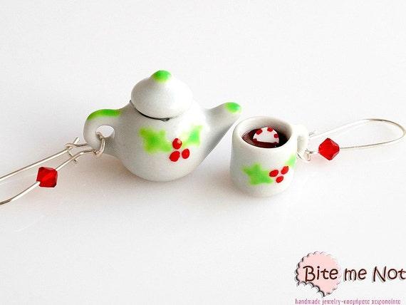 Mini Food Christmas Ceramic Pottery Set, Miniature Food Jewelry, Christmas Jewelry, Polymer Clay, Christmas Gift, Kawaii