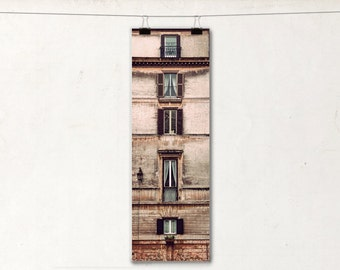 Five, Panoramic Photography Print, 6x18, Windows, Rome Architecture