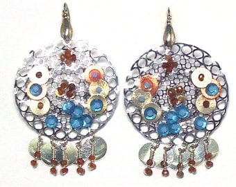 Embroidered earrings made of sterling silver, gemstones and sequins