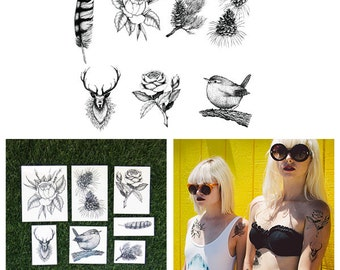 Into The Forest Wild - Temporary Tattoo Pack (Set of 14)