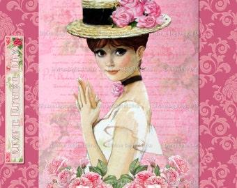 Vintage Parisian Beauty Pink & Roses Digital Image Collage Sheet Instant Download