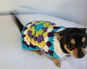 Crochet Knitting Pattern Retro Style Dog Sweater Granny Square Miniature Pet Jumper Directions For Stylish Warm Clothes For Chihuahua Yorkie
