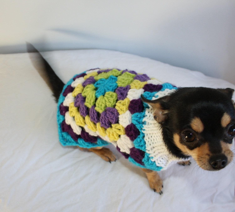 Crochet Pattern For Yorkie Dog : Crochet Knitting Pattern Retro Style Dog Sweater Granny ...