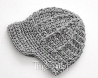 Baby Boy Hat, Newsboy Baby Boy Hat, Crochet Newsboy Hat, Newborn Boy Hat, Infant Hats, Winter Hat, Gray Baby Hat, Hats for Boys, Baby Boy