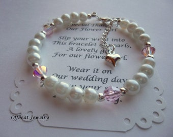 Pearl Children's Bracelet, Flower Girl Gift, Flower Girl Jewelry, Pearl Flower Girl Bracelet, Childrens Bracelet, Girls Bracelet