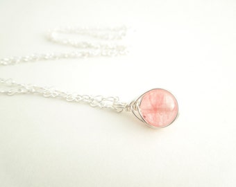 Pink Tourmaline Necklace, Silver Wire Wrapped, October Birthstone Necklace, Pink Pendant, Gemstone Necklace