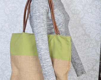 Large burplap tote with green accent