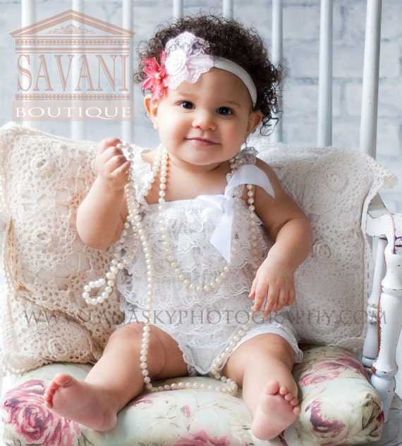 White Lace Petti Romper baby rompers lace romper baby girls