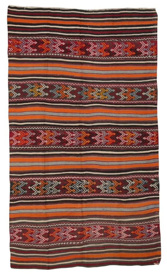 Striped Kilim Rug Turkish Kilim Stylish by TheOrientBazaar