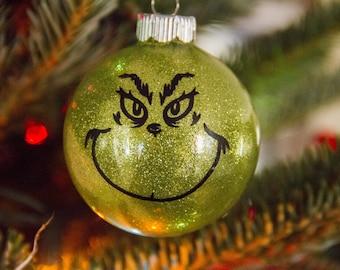 The Grinch ~ Christmas Ornament ~ Glitter Ornament