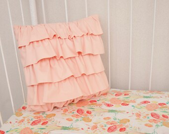 Peach Cascading  Ruffle Crib Cot Pillow