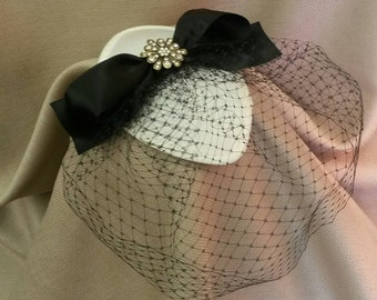 BLACK TIE  Ivory  Satin  Fascinator