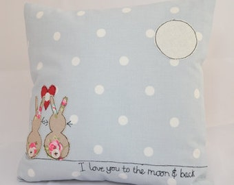 "10"" appliqued and embroidered cushion in our Rabbit & Moon design"