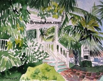 Louie's Backyard Key West - Watercolor Archival Print                              by Brenda Ann