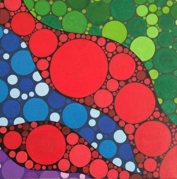 Flowing Bubbles Abstract Acrylic Painting