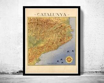 Old Map of Cataluña Catalunya  Barcelona