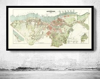 Old Vintage Map of Gothenburg Göteborg  Sweden 1888
