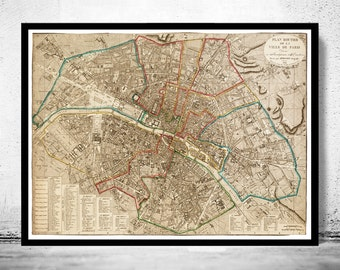 Old Map of Paris 1832 France Vintage Paris Plan