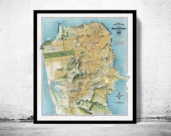 Old Map of San Francisco, United States of America Vintage 1912 The Chevalier Map of San Francisco