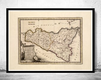 Old Map of Sicily Sicilia, Italia 1790