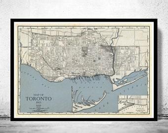 Old Map of Toronto, Ontario Canada 1903 Vintage map Toronto