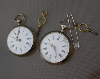 Lot of 2pcs antique watches  Antique  Pocket Watch  sterling silver stamped original watch key signed Gold madal Paris in working condition