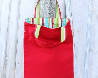 Clearance - Lined Reversible Canvas Tote Bag, Cotton Tote, Reusable Bag, Beach Bag, Grocery Bag, Striped Tote, Red Tote,