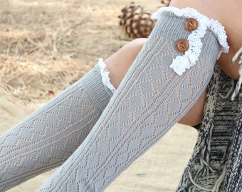 Women's Knitted  Boot Socks   with Venice Lace and Buttons Cute  and Warm Grey   color
