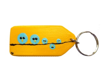 Key yellow bird hand painted