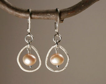 Pearl Earrings in Sterling Silver - Single Pebble Dangle Pearl Earrings in Sterling Silver with Light Peach Freshwater Pearls - 00216
