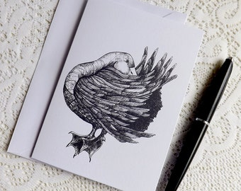 Aylesbury Duck, Greetings Card. Pen And Ink Drawn Greetings Card. Blank Greetings Card. Original Art Greetings Card. Blank Note Card.