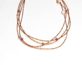 june birthday gift for her / extra long bead necklace / bronze copper necklace / fresh water pearls triple strand four strand