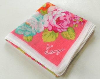 KENZO Red Floral Pattern Handkerchief