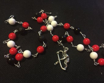 Hockey Player Necklace Red/White/Black Blackhawks Hurricanes Devils