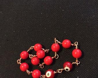 Red Eye Glass Bracelet