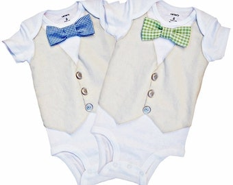 Linen Vest Duo - Blue and Green Gingham[VVBGG]