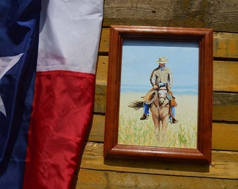 Original West Texas Rider - Oil Painting, Western Art, Texas Art, Cowboy Painting