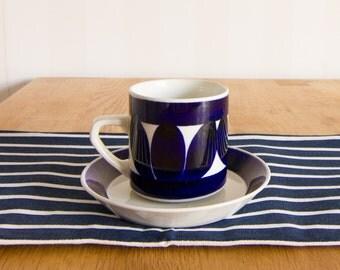 Arabia Finland Sotka Blue Cup & Saucer Set by Raija Uosikkinen